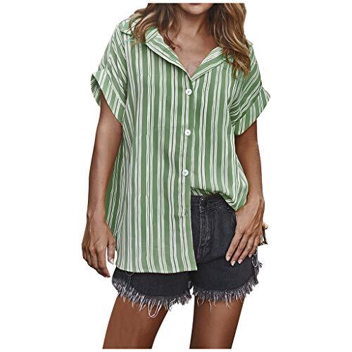 SANFASHION Damen Mode Kurzarm Bluse,Stripe Print V-Ausschnitt Button Top Shirts