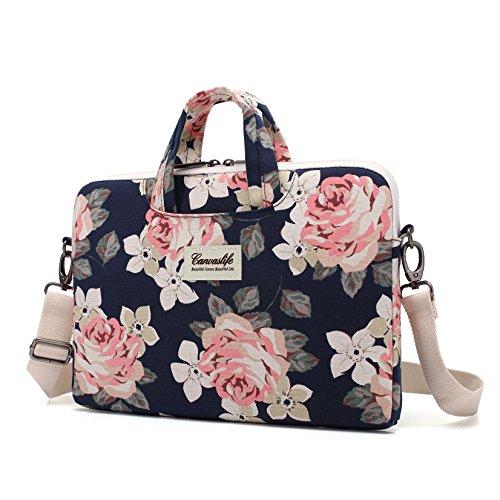 Canvaslife White Rose Patten Waterproof Laptop Shoulder Messenger Bag Case Sleeve for 14 Inch 15...