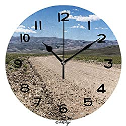 AmaUncle Round Wall Clock Provincial Road 10 inch Morden Wall Clocks Silent Round Decorative Clock No34283