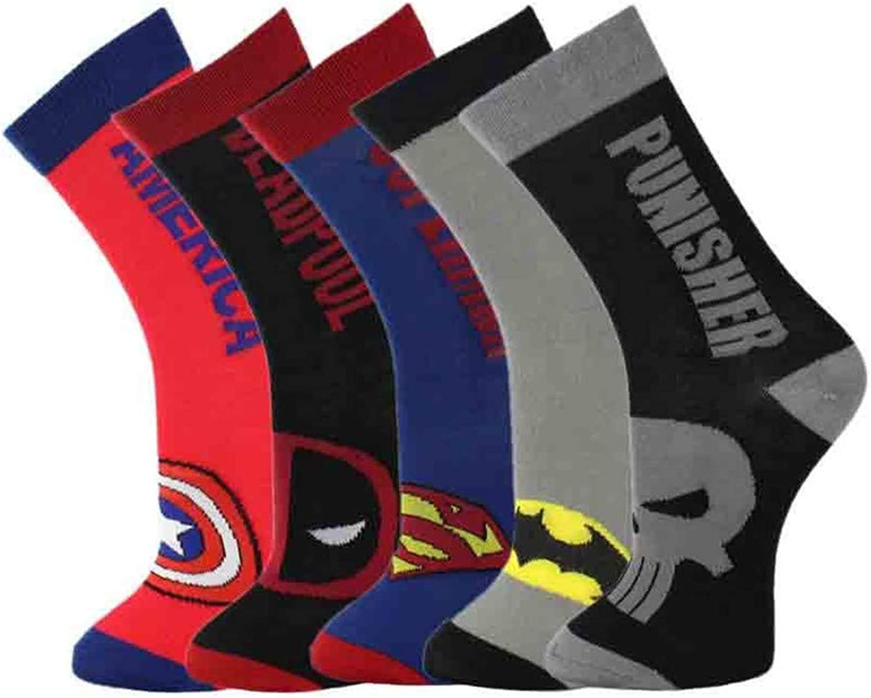 Hyf Socks Socks 5 Pairs Men'S Cotton Socks Classic Superhero