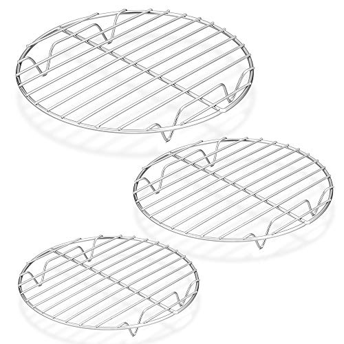"""P&P CHEF Round Cooking Rack, 3 Pcs (7½"""" & 9"""" & 10½""""), Baking Cooling Steaming Grilling Rack Stainless Steel, Fits Air Fryer/Stockpot/Pressure Cooker/Round Cake Pan, Oven & Dishwasher Safe"""