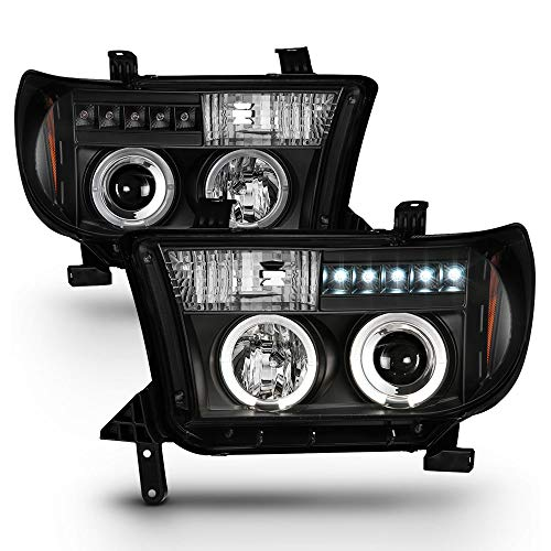 ACANII - For 2007-2013 Toyota Tundra 08-17 Sequoia LED Halo Ring Black Housing Projector Headlights Headlamps Left+Right