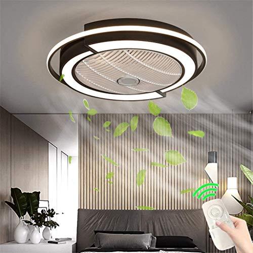 LLDS Fan Ceiling Light Lxn Luz Del Ventilador De Techo De Cristal Sala De Estar Control Remoto Invisible Ventilador De Techo Dormitorio Lámpara De Atenuación Silenciosa,Negro,58cm
