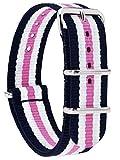 MOMENTO Correa de Reloj de Zulu Nailon para Mujer y Hombre con Hebilla de Acero Inoxidable en Plateado y Tela de Rayas en Azul Blanco Rosa - 18mm