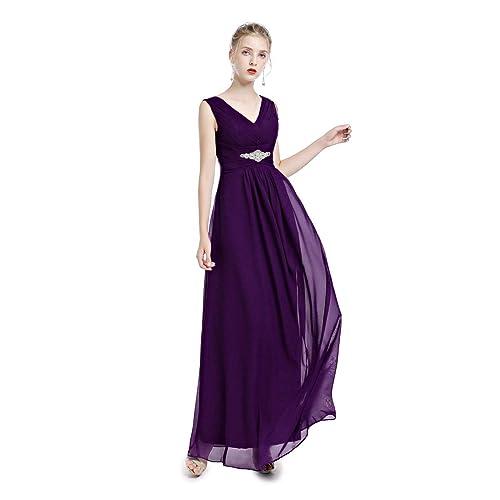 cc8d736c43 Long Chiffon Purple Dress: Amazon.co.uk