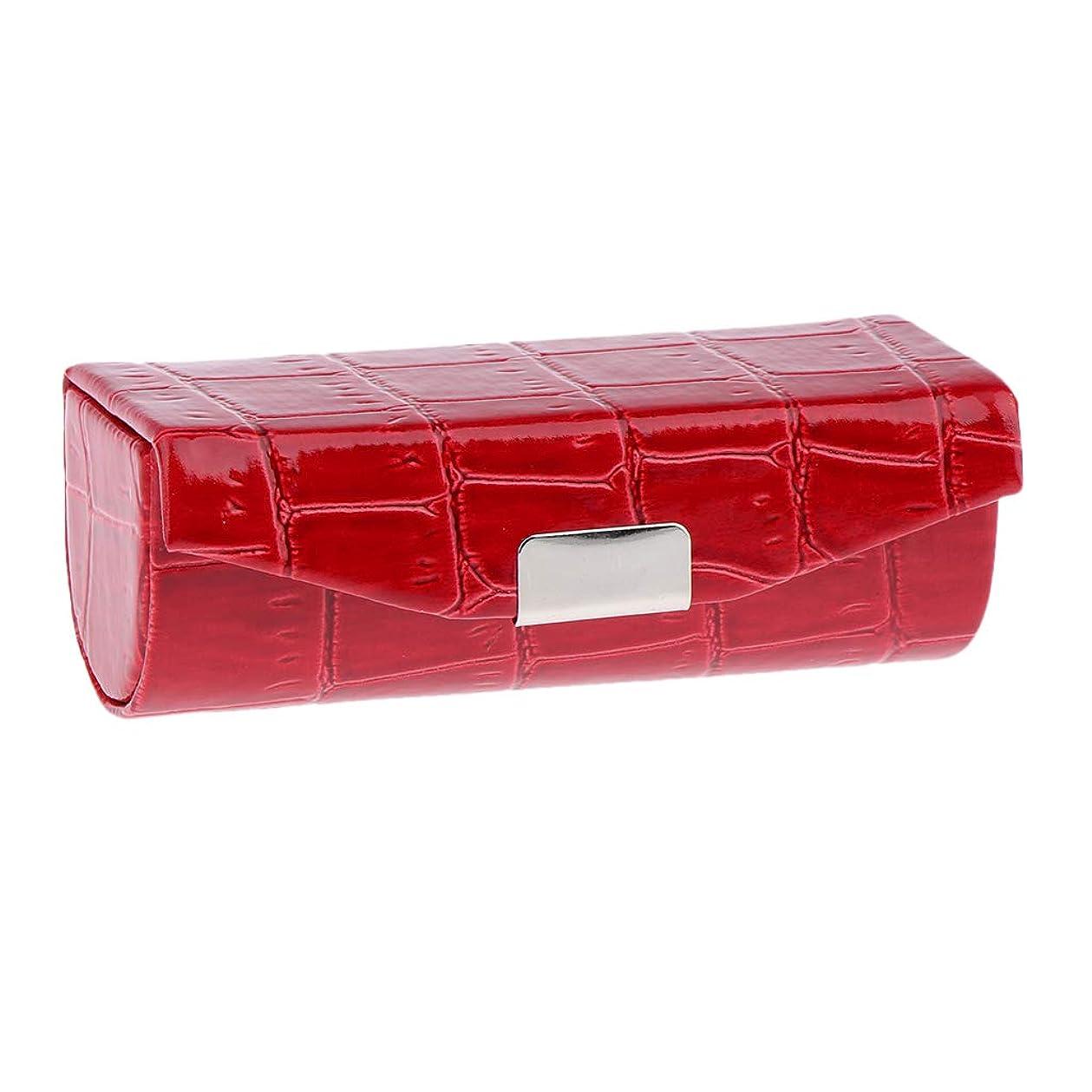 瞑想的生き残ります何故なのSharplace 口紅ケース 小物収納ケース プレゼント ミラー付き 多色選べ - 赤