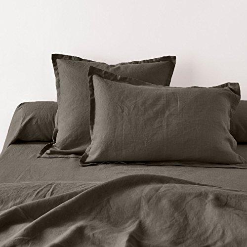Home Inspiration 941020 Taie d'oreiller avec Volant Coton/Lin Gris foncé 65 x 65 cm