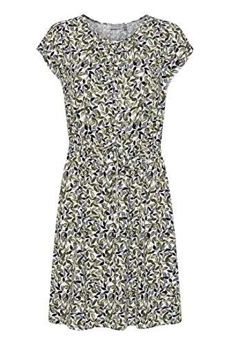 fransa Damen Kleid - Jersey Kleid mit Alloverprint, Mehrfarbig (Green Flowers 200189), 42 (Herstellergröße: XL)