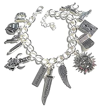 Wicked Witchery Supernatural Inspired Charm Bracelet Includes 13 Sam and Dean Related Charms and a Bonus Impala Charm
