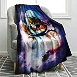 Jekeno Astronaut Cat Blanket Galaxy Space Cat Print Throw Blanket Comfort Warmth for Kid Couch Sofa Bed 50'x60'