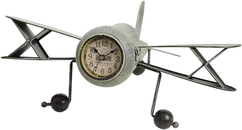 デスククロックファミリークロックヨーロッパの航空機モデル置時計錬鉄製のレトロミュートデスクトップのリビングルームバーの装飾時計の装飾品リビングルームの寝室のオフィスに適して