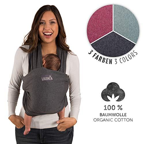 Fular Portabebes de Algodón Ecológico para Recién Nacidos hasta bebés de 15KG Fabricación Europea, Transpirable, sin Elastano Artificial Color Gris