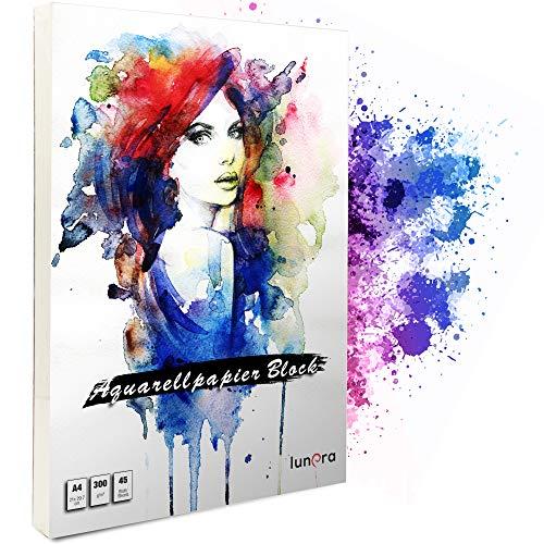 lunera premium Aquarellpapier 300g DIN A4 mit 45 Blatt naturweiß kaltgepresst & geleimt I Aquarellblock perfekt für Aquarell, Zeichnen, Malen, Mischtechniken und Lettering