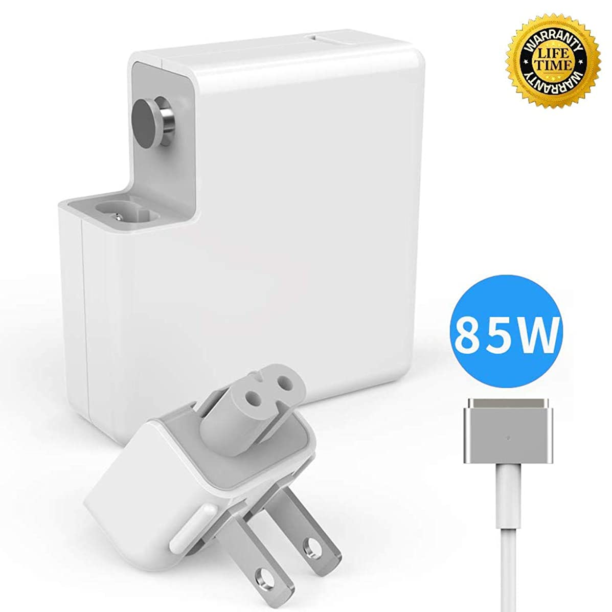 Mac Book Pro Charger, RAYI AC Power T-Tip 85W Magsafe 2 Connector Magnetic Adapter Charger Compatible with Replacement for Mac Book Pro 13 Inch 15 Inch and 17 Inch Retina Display (85T)