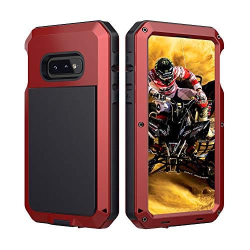 Beeasy Samsung Galaxy S10e Hülle,360 Grad Outdoor Handyhülle mit integriertem Bildschirmschutz Hülle Schutzhülle Robust Cover Armor Schutzschicht Fallschutz Hybrid Schlagfest Stoßfest Kratzfest,Rot