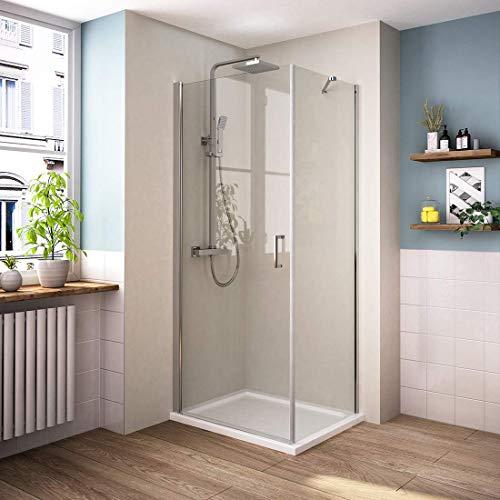 Bath-mann Eckeinstieg Duschkabine Duschabtrennung Pendeltür Duschwand mit Seitenwand 76 x 90 cm (Höhe: 195 cm) | 76cm Schwingtür Duschwand Tür + 90cm Seitenwand (6mm Sicherheitsglas Nano Glas)