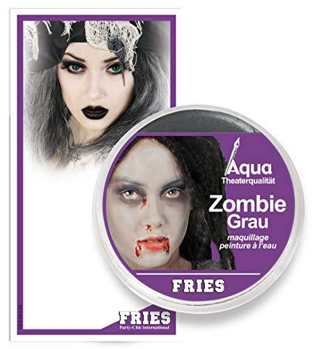 Party Discount - Maquillaje de zombis para Halloween, teatro, color gris, bote de 15 g