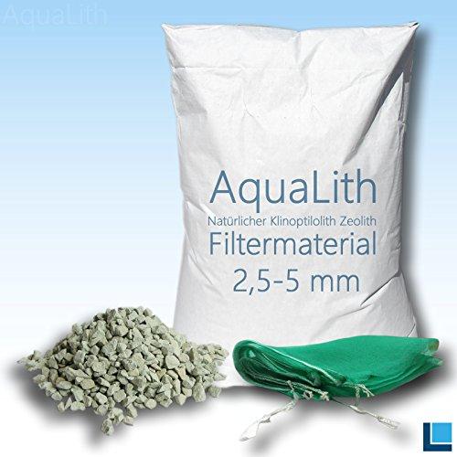 AquaLith 25kg Filtermaterial Zeolith 2,5-5 mm inkl. 2 x Filternetzbeutel für Koiteiche, Gartenteiche, Zierteiche und Schwimmteiche