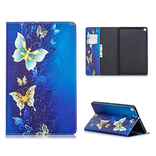 Tablethülle für Samsung Galaxy Tab A (10,1 Zoll) 2019 /T510/T515 Hülle Case PU Leder Tasche Schutzhülle Flip Cover Abdeckung Klapphülle Ständer Karten Fächer Magnetverschluss Deckel-Schmetterling2
