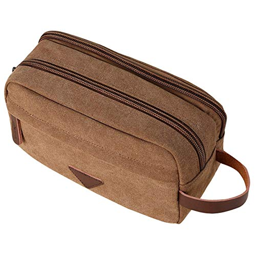 NIRIBALLA Men Handbag Toiletry Kit Cosmetic Organizer Bag Canvas Travel Waterproof Wash Bag Female Makeup Box Women Make Up Beauty Case (Color : Coffee)