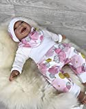 Baby Set 56 62 68 74 Hose, Mütze und Dreieckstuch, Erstausstattung, new born set,Mädchen Pumphose, pink Punkte