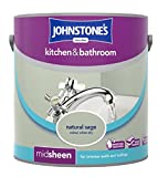 Johnstone's 308704 Kitchen and Bathroom Emulsion Paint, Natural Sage, 2.5 Litre