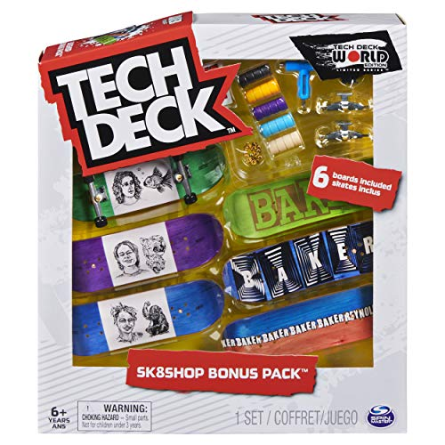 Tech Deck, Sk8shop Fingerboard Bonus Pack, Collectible and Customizable Mini Skateboards (Styles May Vary)