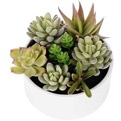 MyGift Decorative Round Faux Potted Succulents/Artificial Plant in 6 Inch Glazed White Ceramic...