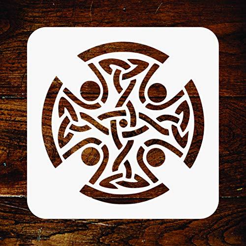 Plantilla de cruz celta – 11,5 x 11,5 cm – reutilizable religioso tribal nudos plantilla de pared