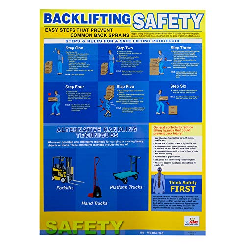 NMC PST001 Back Lifting Safety Poster – 18 in. x 24 in. Laminated Paper Safety Training Poster