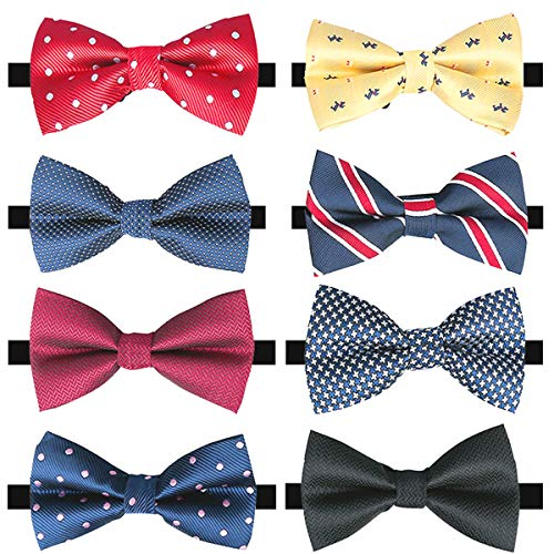 BASH 8 PACKS Adjustable Pre-tied Bow Ties, Elegant Bow Ties for Men Boys in Different Colors (A), Small