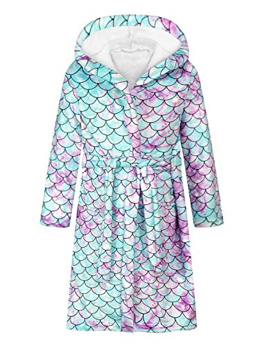 Alvivi Kinder Bademantel mit Kapuze Langarm Pyjama Einhon/Mermaid Meerjungfrau Mädchen Jungen Morgenmantel Winter Nachtwäsche Meerjungfrau Skala 140-152