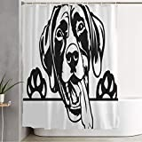Shower Curtain for Bathroom Colorful Beautiful German Shorthaired Pic Pointer Dog Breed Face Animals Wildlife Canine Caricature Clipart Waterproof Polyester Stall Curtains with Hooks 72x78 Inch