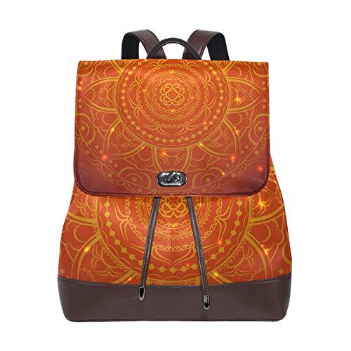 COOSUN Women PU Leather Beige Doodle Ornament Backpack Purse Travel School Shoulder Bag Casual Daypack