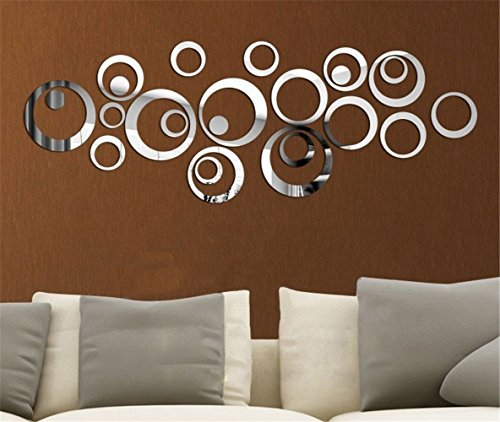 Mercurymall? Miroir autocollant autocollant 3D design moderne conception future metal surface decoration murale vignette salon chambre a coucher (Miroir argent)