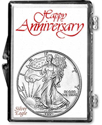 1991-1 Ounce American Silver Eagle in Anniversary Holder Dollar Uncirculated Us Mint