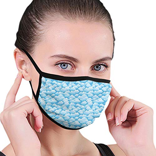 Reusable half bandanas M-shaped nose clip ,Puffy Balls Inspired Floating Cumulus Formation Cartoon Design,breathable sports mouth cover