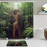 KISSENSU Badezimmer-Vorhang-Set,Sexy Weed Pot Leaf Marihuana Rauchen HOT Girl Art Foto,Duschvorhang gedruckt wasserdichter Vorhang Badematte Fußmatte Wohnkultur,180 * 180CM Curtain