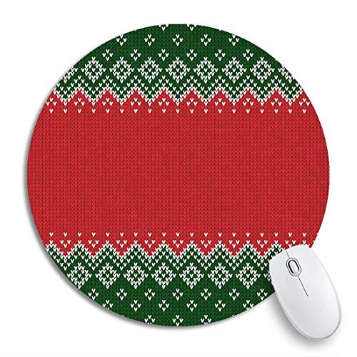 Rundes Mauspad Winter Weihnachten X Mas Gestrickte abstrakte und Randmuster rutschfeste Gummibasis Mausmatte Gaming Mousepad für Computer