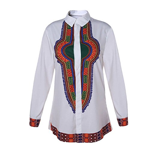 Deylaying Hombre África Nacional Estilo Disfraz Festival Ropa Tops Étnico Tribal Camisas Impreso Manga Larga Dashiki