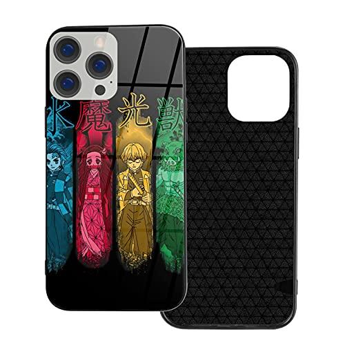 Demon Slayer - Carcasa para iPhone 12 Series diseñada para IP12 Pro-6.1 de vidrio templado para teléfono caso de cuerpo completo
