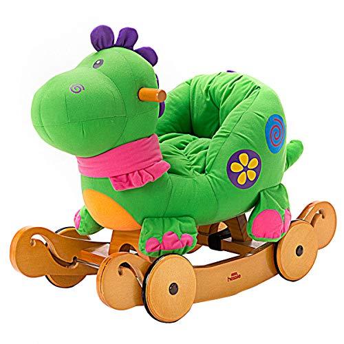 Labebe - Baby Rocking Horse, Dinosaur Ride On Toy, Kid Green Dinosaur Rocker for 1-3 Year Old, Infant (Boy&Girl) Plush Animal Rocker, Toddler Stuffed Ride Toy for Outdoor&Indoor, Child Birthday Gift