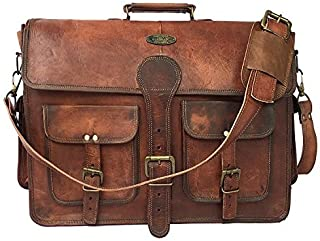 TUZECH Large Bold and Stylish Hunter Leather Bag Handcrafted Messenger Office Regular Bag Fits Laptop Upto (18 Inches)