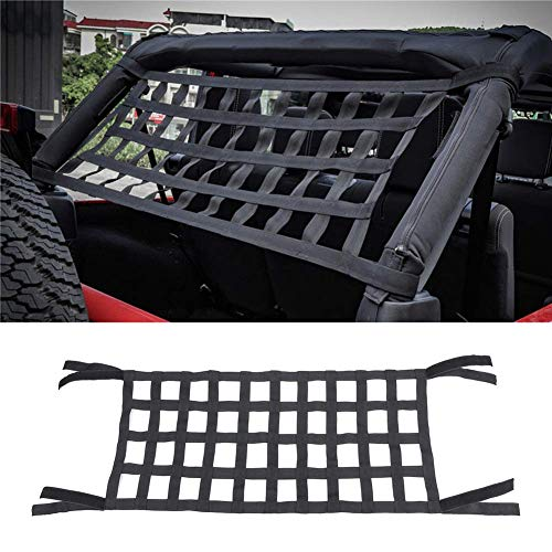 Hammocks Bed Cargo Net,Heavy Duty Roof Storage Roll Cage Bar Restraint Cargo Roof Top Soft Cover Rest Bed Hammock for Jeep Wrangler JK 07-18(Black)