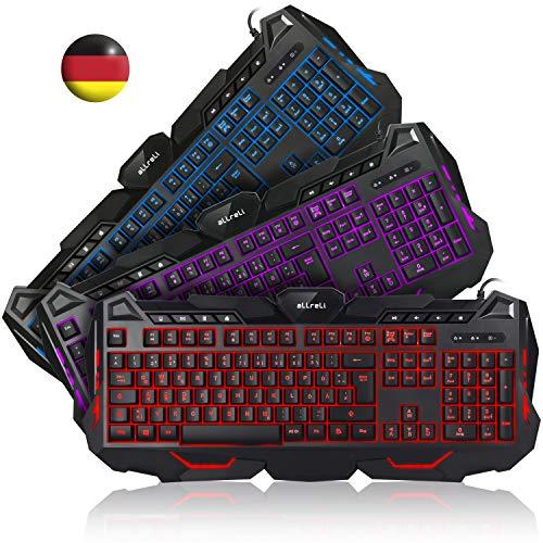 aLLreli K617 Beleuchtete Tastatur, Deutsch QWERTZ USB Kabel Tastatur 3-Farbig LED Hintergrundbeleuchtung für Gaming, PS4, Büro, Lernen, Kompatibel Windows, Mac, Linux, Schwarz