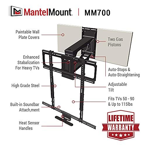 MantelMount MM700 Pro Fireplace TV Mount Pull Down Bracket for 50