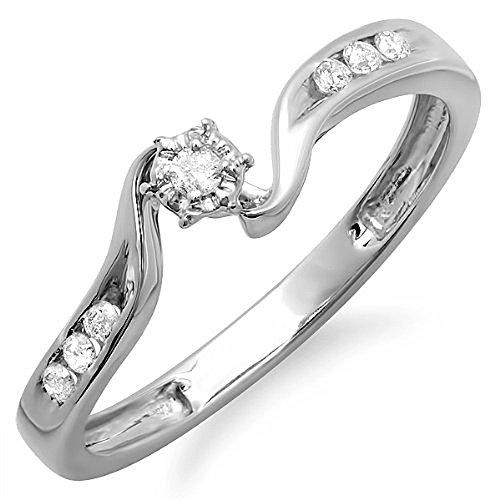 Dazzlingrock Collection - Anillo de compromiso de boda de diamante redondo de 14 K de 0,15 quilates, oro blanco