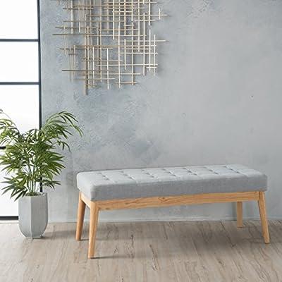 Saxon Light Grey Fabric Bench