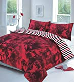<span class='highlight'><span class='highlight'>clicktostyle</span></span> NEW ROSE DUVET SET PILLOW CASES QUILT COVER BEDDING SETS (Rose Red, Double)