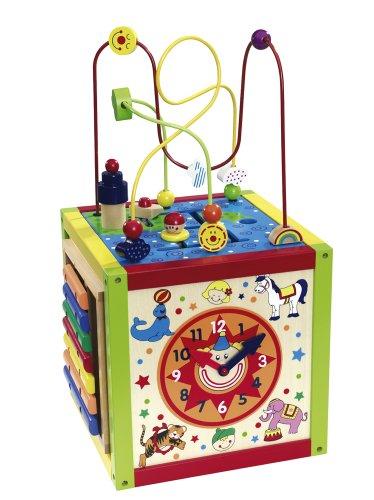 Eichhorn - 100003685 - Centre ludique en bois - Boucle motorisée, horloge, xylophone, jeu motorisé et tableau inclus -30 x 30 x 58 cm